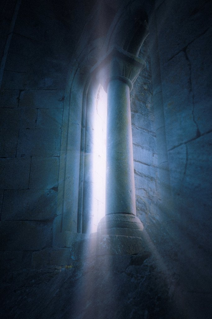 Stock Photo: 1566-1041113 A mysterious view of Cong Abbey with ray of lights, Cong, County Mayo, Ireland, Europe