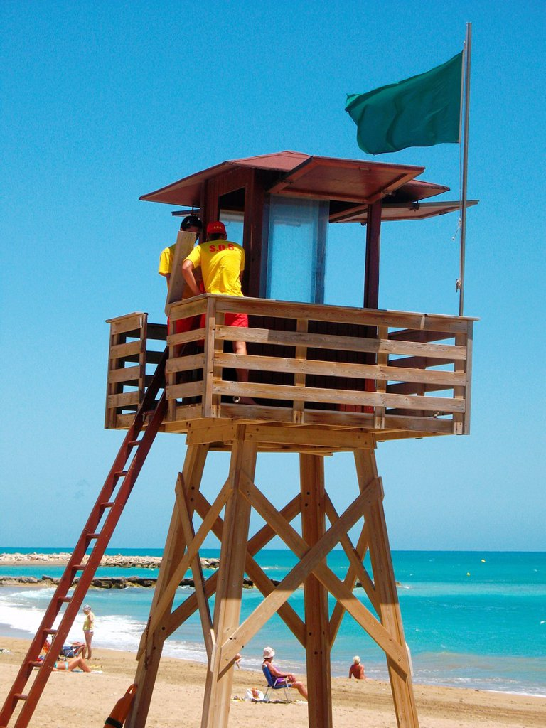 As a lifeguard, Vinaroz, Castellon province, Comunidad Valenciana, Spain : Stock Photo