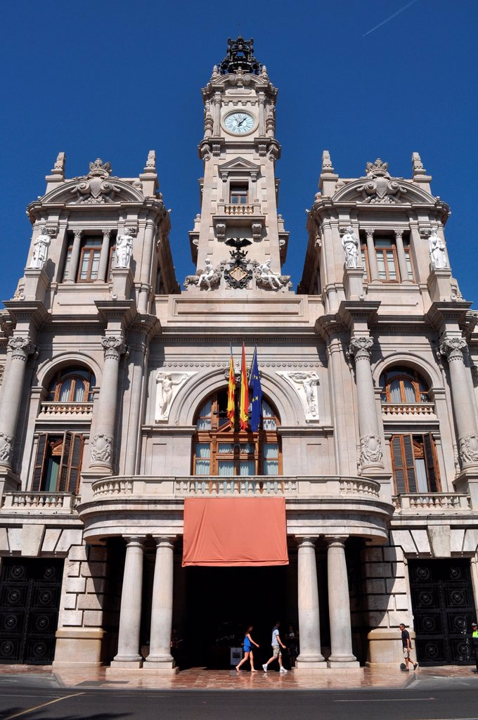 Stock Photo: 1566-1041517 Valencia, Spain: Plaza del Ayuntamiento, the City Hall