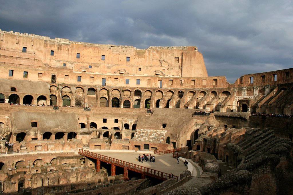 inside the colosseum amphitheatre, rome : Stock Photo