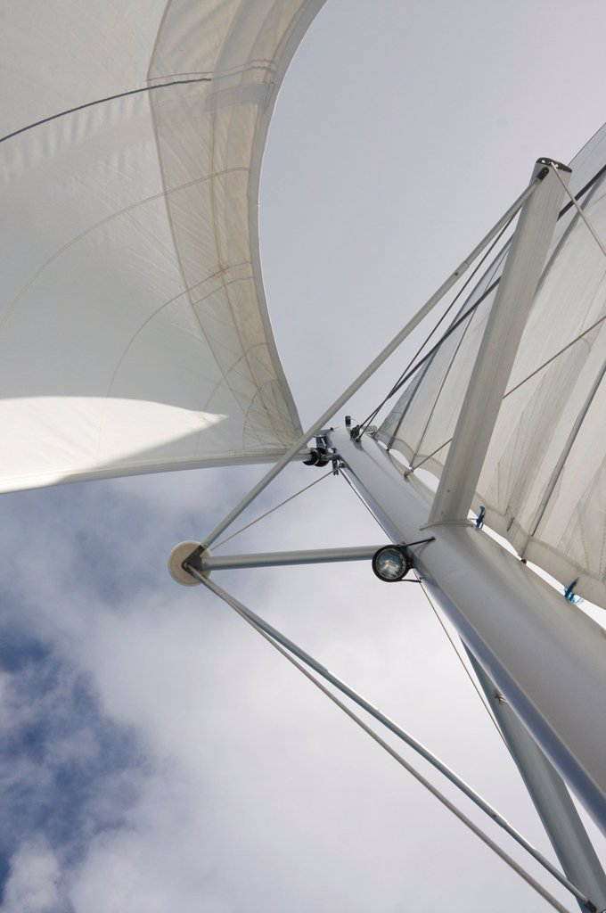 Stock Photo: 1566-1041696 Jib & Main Sail with the mast on catamaran boat, under sail