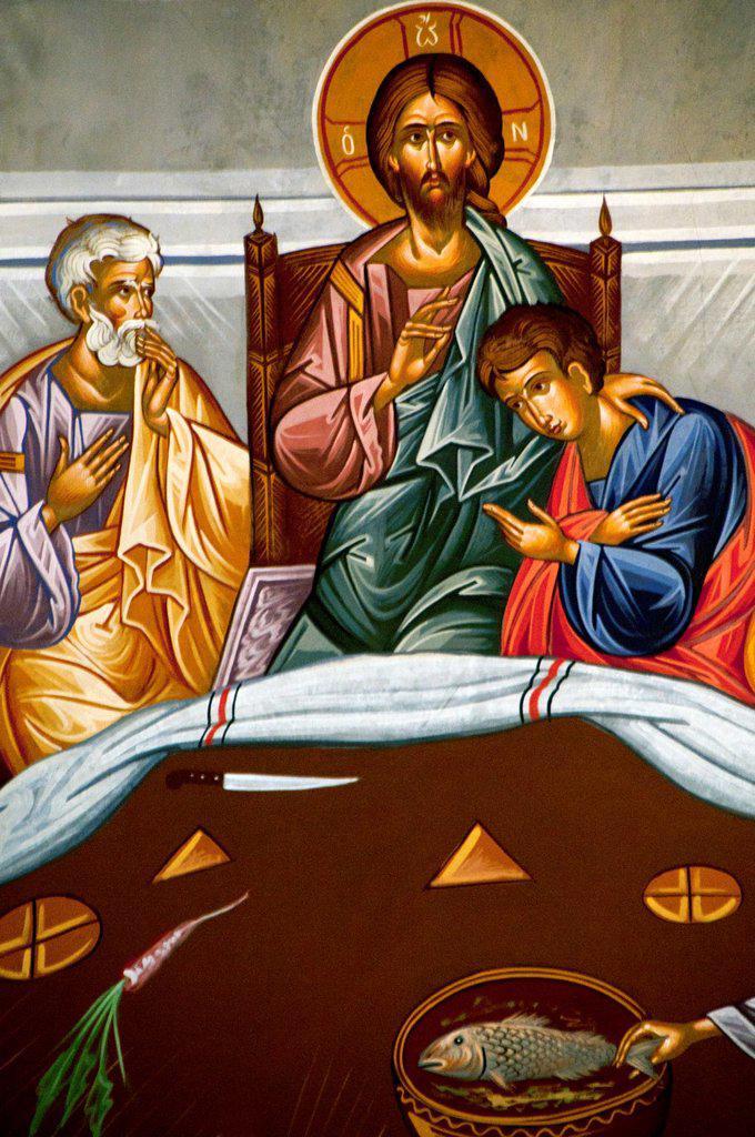 frescoes in Saint Minas Cathedral, Heraklion, Crete, Greece, Europe : Stock Photo