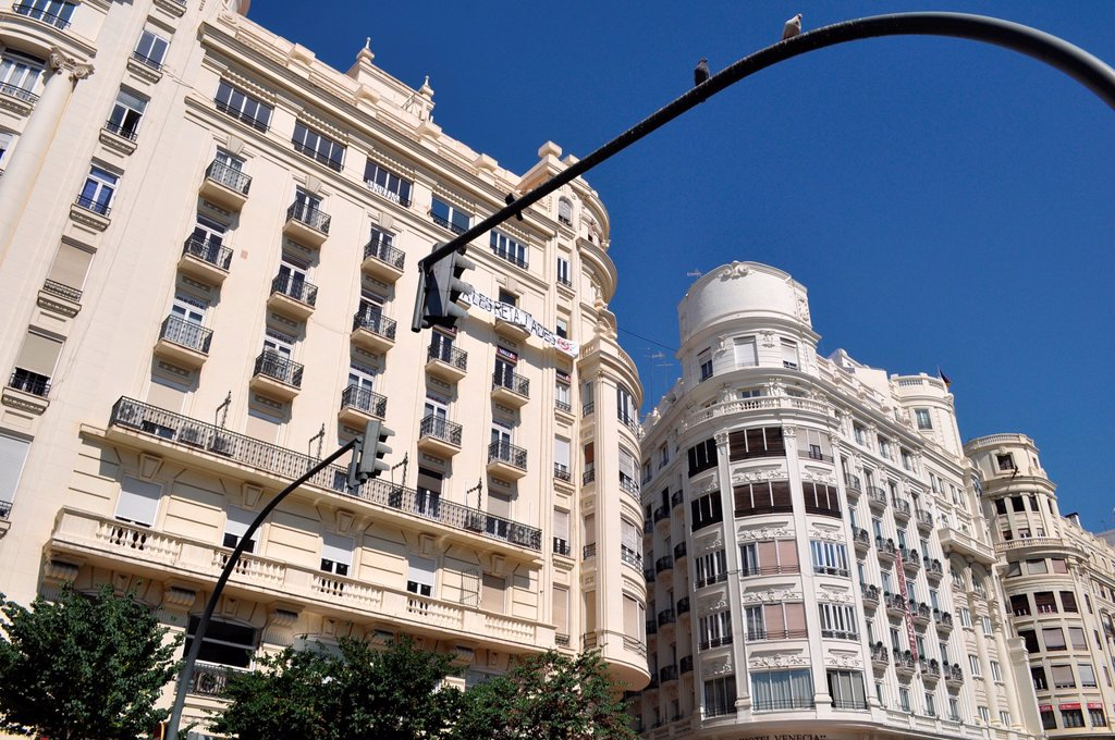 Stock Photo: 1566-1042636 Valencia, Spain: buildings in Plaza del Ayuntamiento