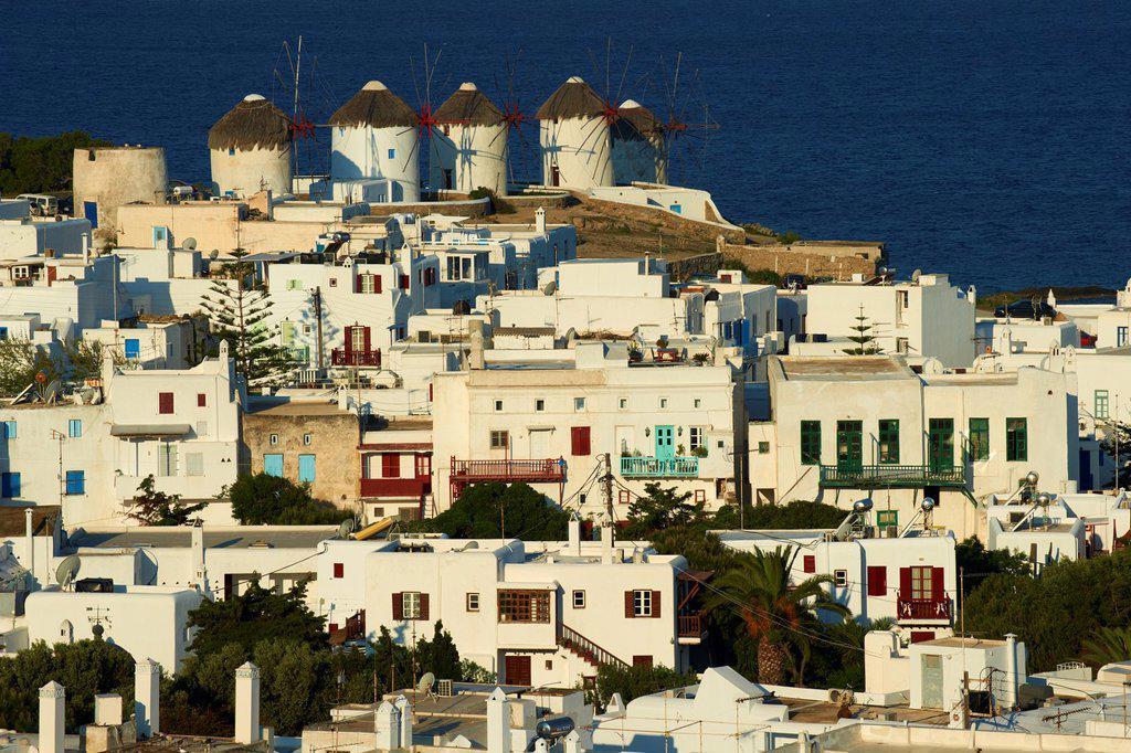 Greece, Cyclades, Mykonos island, Chora, Mykonos town, windmills Kato Mili : Stock Photo