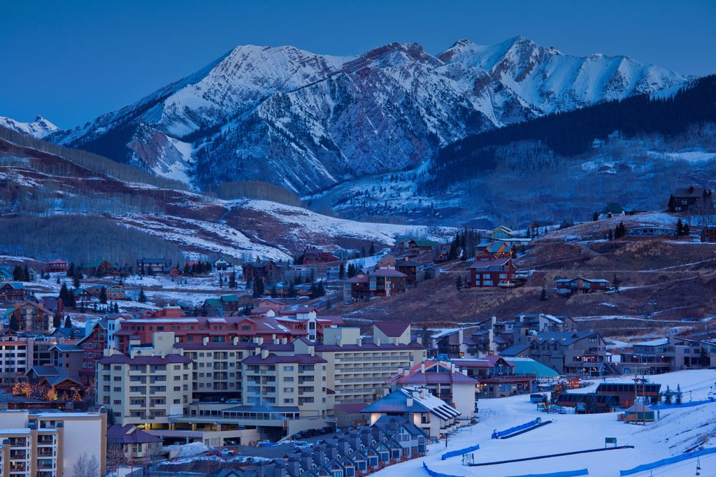 Stock Photo: 1566-1042960 USA, Colorado, Crested Butte, Mount Crested Butte Ski Village, elevated view, dawn