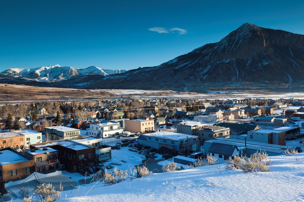 Stock Photo: 1566-1042961 USA, Colorado, Crested Butte, elevated town view, with Mount Crested Butte, morning