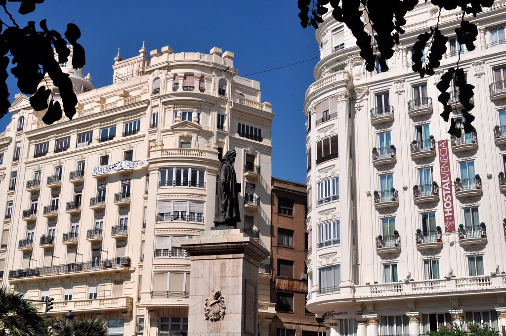 Stock Photo: 1566-1043035 Valencia, Spain: buildings in Plaza del Ayuntamiento