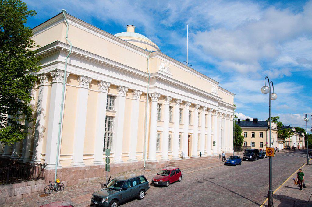 Stock Photo: 1566-1043082 Suomen Kansalliskirjasto the National Library of Finland 1840 by Carl Ludvig Engln along Unioninkatu street Kruununhaka district central Helsinki Finland Europe