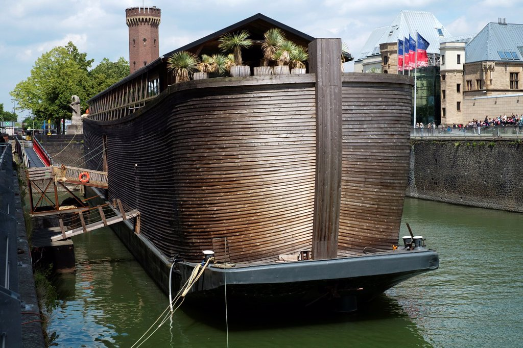 Stock Photo: 1566-1043107 View of Noah´s Ark wooden ship and religious exhibition in Cologne Germany