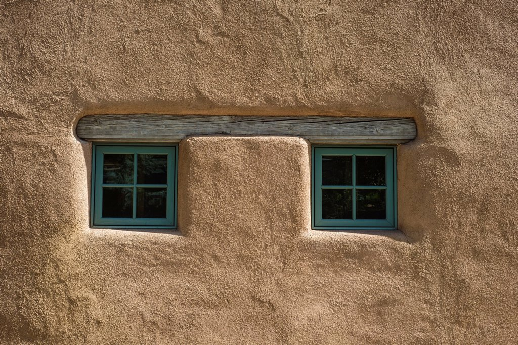 Stock Photo: 1566-1043592 Pair of small square windows on adobe house, Santa Fe, New Mexico, USA