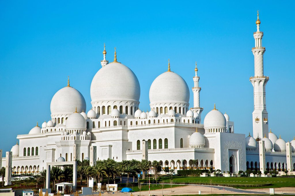 Sheikh Zayed Bin Sultan Al Nahyan Mosque, Great Mosque, Abu Dhabi, United Arab Emirates, Middle East : Stock Photo