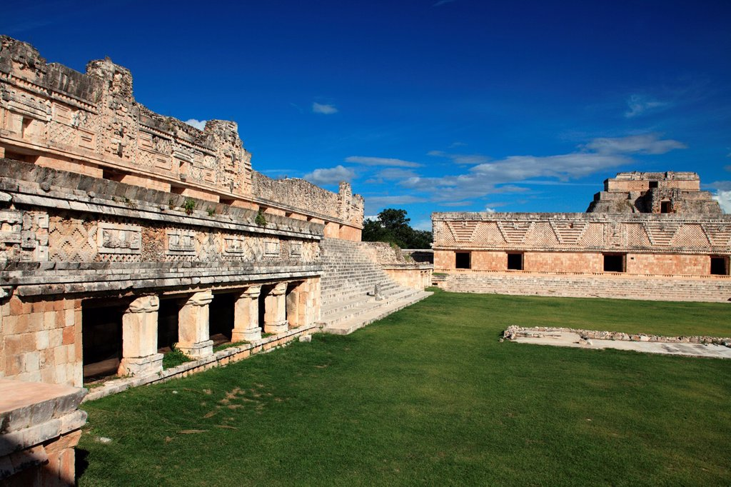 Stock Photo: 1566-1043753 The Nunnery Quadrangle Cuadrangulo de las Monjas in the ancient Mayan city of Uxmal  Uxmal  Mexico.