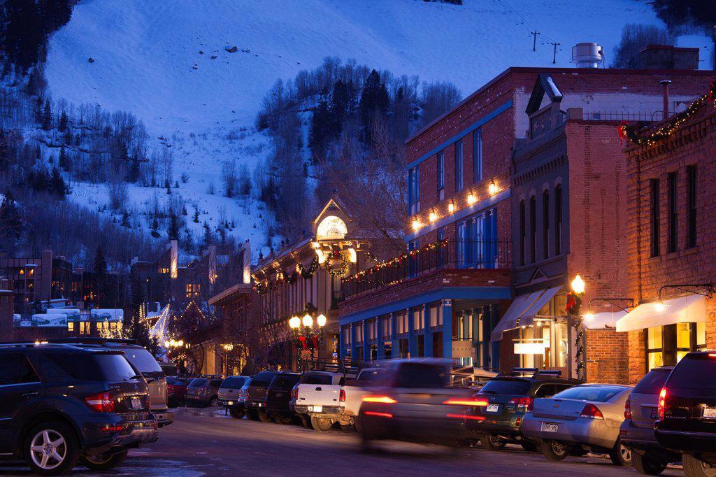USA, Colorado, Aspen, downtown traffic, dusk : Stock Photo