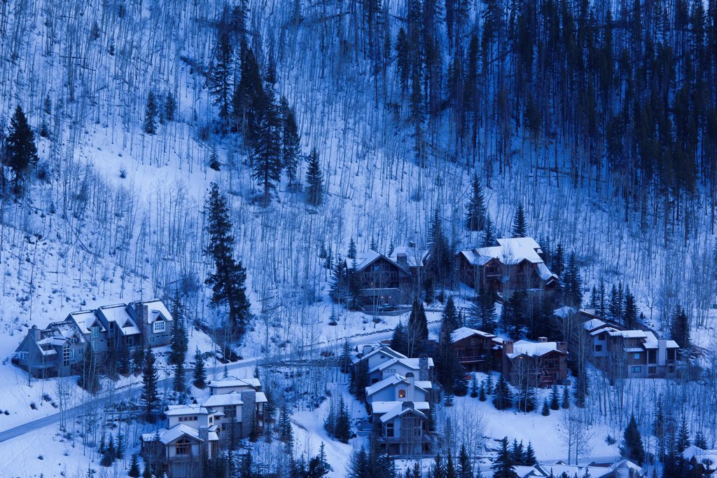 Stock Photo: 1566-1044442 USA, Colorado, Vail, elevated ski resort view, dusk, winter