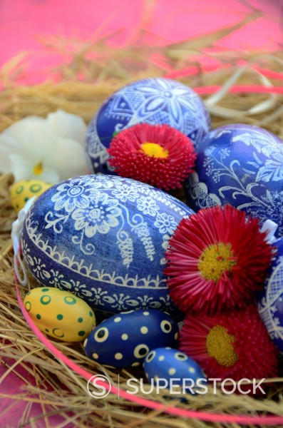 Stock Photo: 1566-1044789 Colorful Easter Eggs resting in Hay