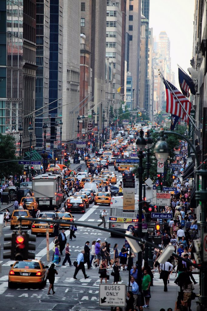 Stock Photo: 1566-1044890 Sixth Avenue in midtown Manhattan during rush hour  New York City  USA.