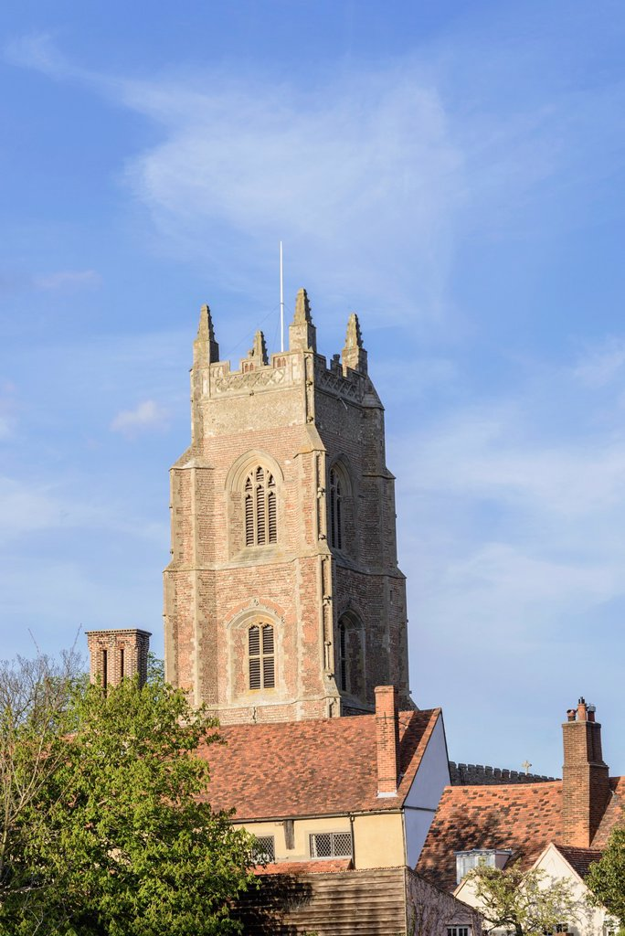 Stock Photo: 1566-1045588 Tower of St Mary´s parish church, Stoke-by-Nayland, Suffolk, England, UK