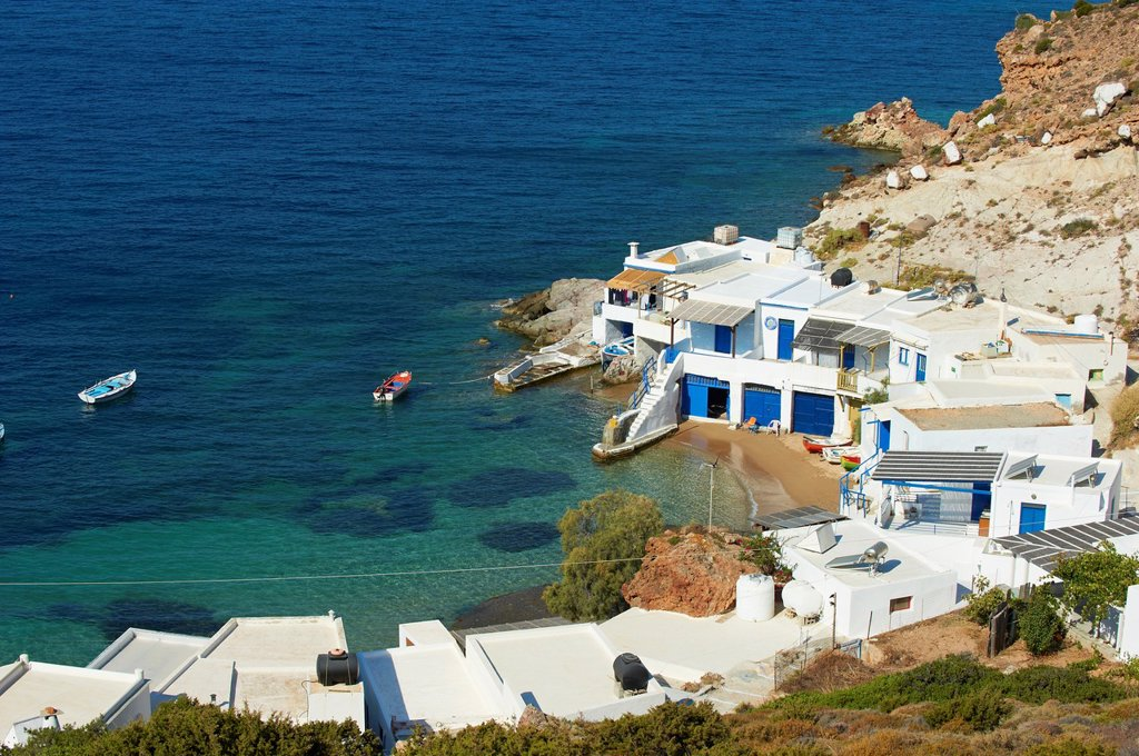 Stock Photo: 1566-1045889 Greece, Cyclades islands, Milos, Fourkovouni, fisher village
