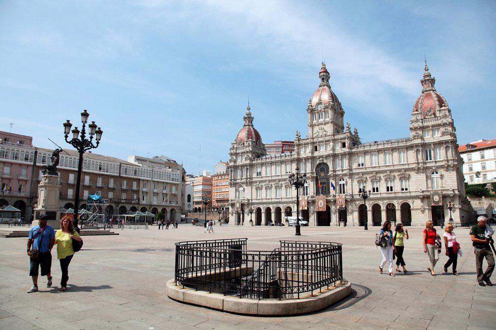 Stock Photo: 1566-1045984 Plaza del Ayuntamiento de Galicia, La Coruña, Galicia, Spain, Europe.