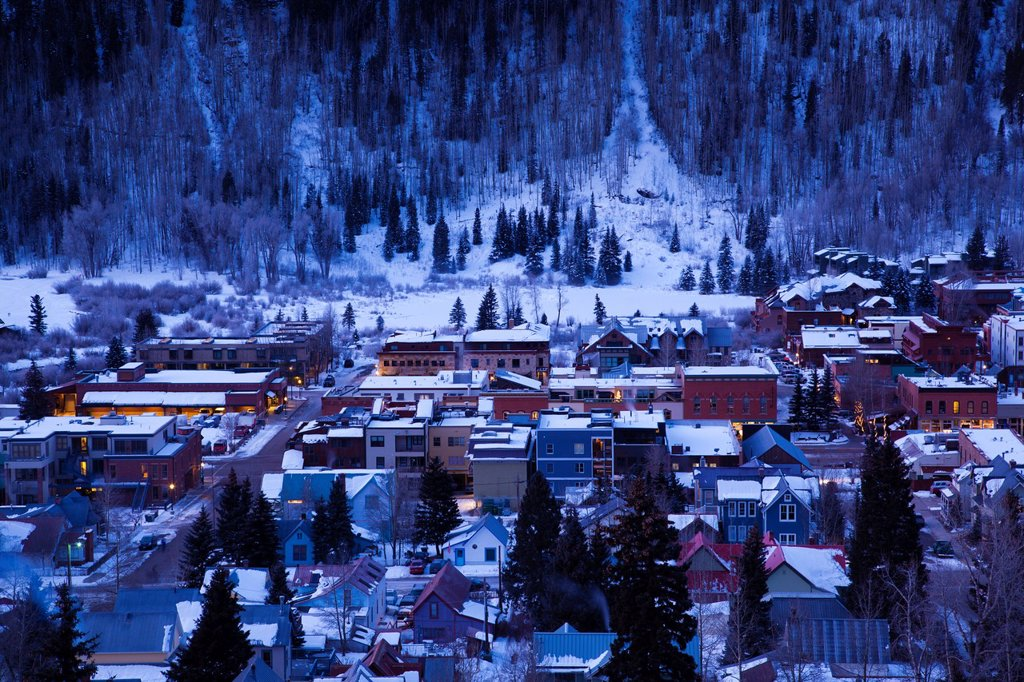Stock Photo: 1566-1046131 USA, Colorado, Telluride, elevated town view from Tomboy Road, dawn