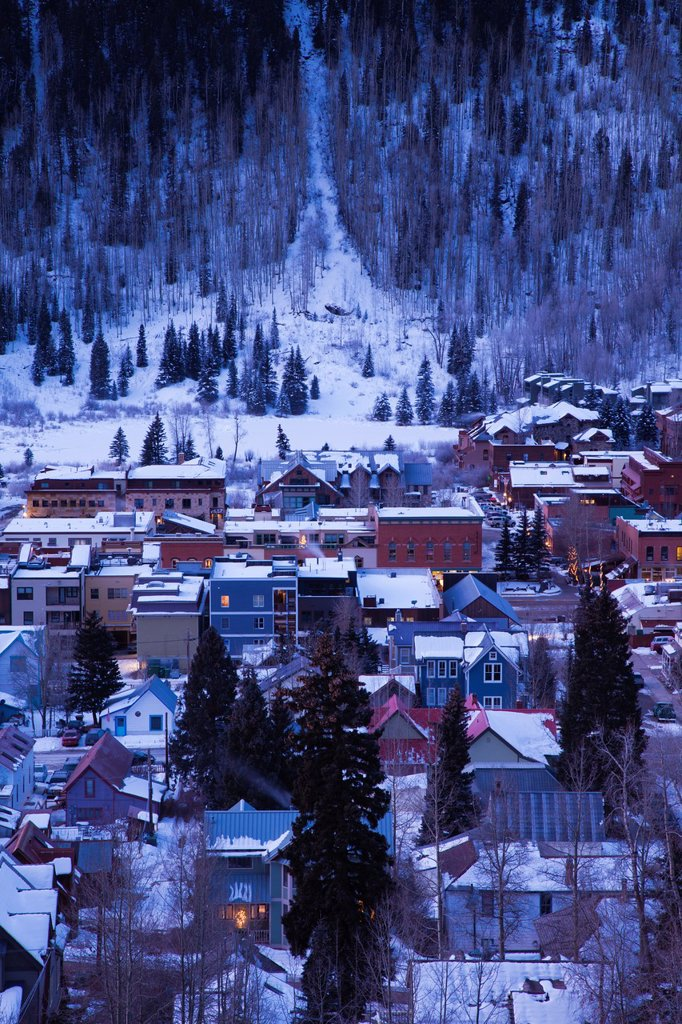Stock Photo: 1566-1046132 USA, Colorado, Telluride, elevated town view from Tomboy Road, dawn