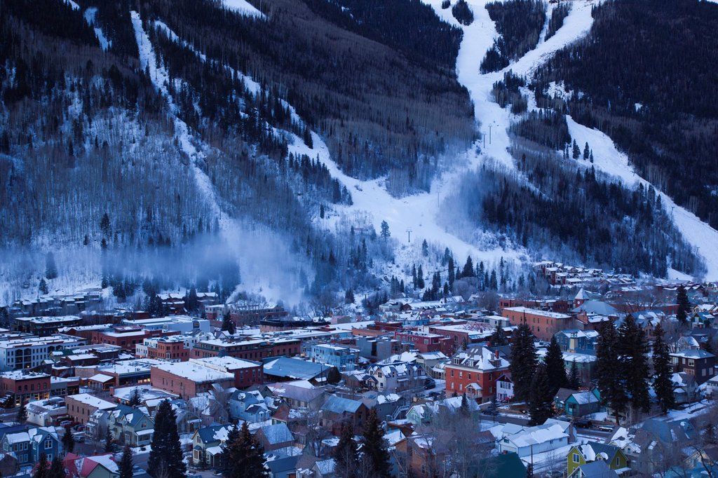 USA, Colorado, Telluride, elevated town view from Tomboy Road, dawn : Stock Photo
