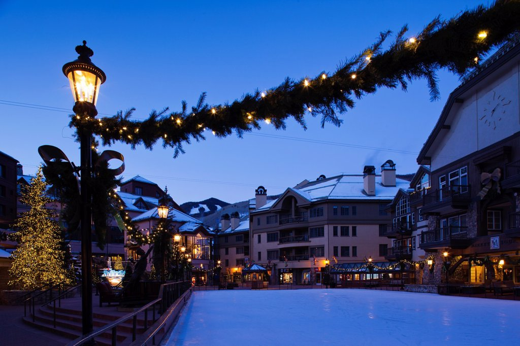 USA, Colorado, Beaver Creek, Beaver Creek Ski Resort, ice rink, dawn : Stock Photo