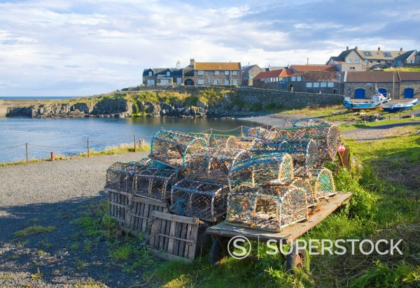 Stock Photo: 1566-1046299 Attractive small harbour of Craster, Northumberland, England