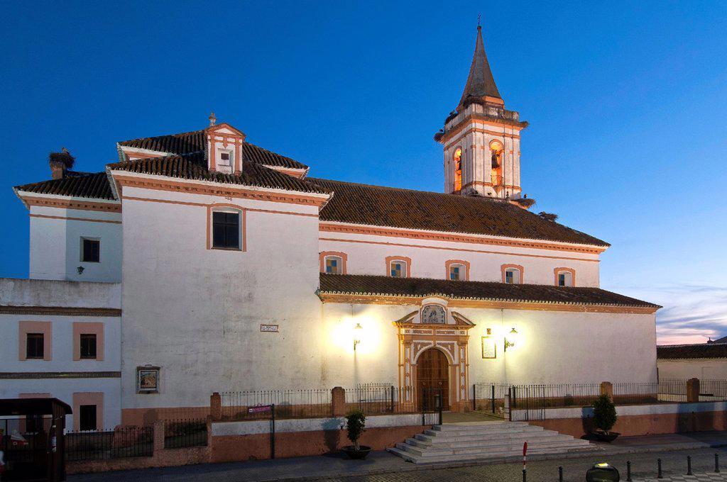 Stock Photo: 1566-1046374 Church of Santiago Apostol  Gibraleon  Huelva-province  Spain