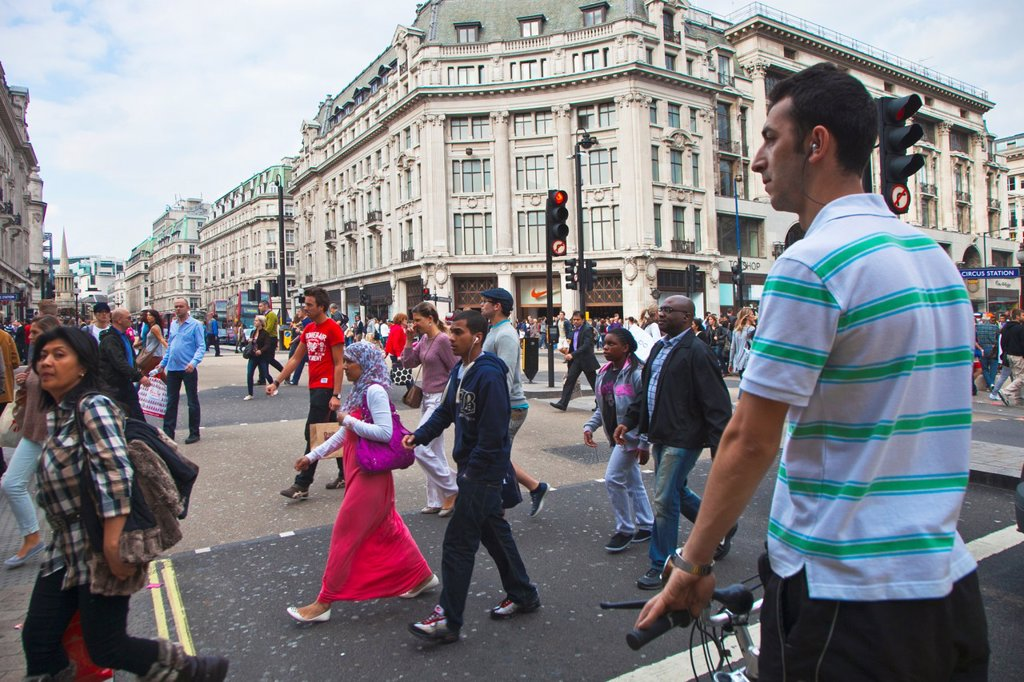 Stock Photo: 1566-1046860 Oxford Circus  London  England  United Kingdom  UK  Europe.