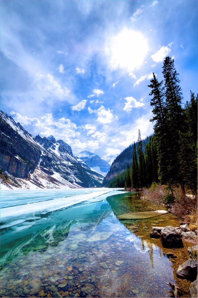 Stock Photo: 1566-1047187 Lake Louise, Alberta, Canada, in the spring time Ice on lake melting