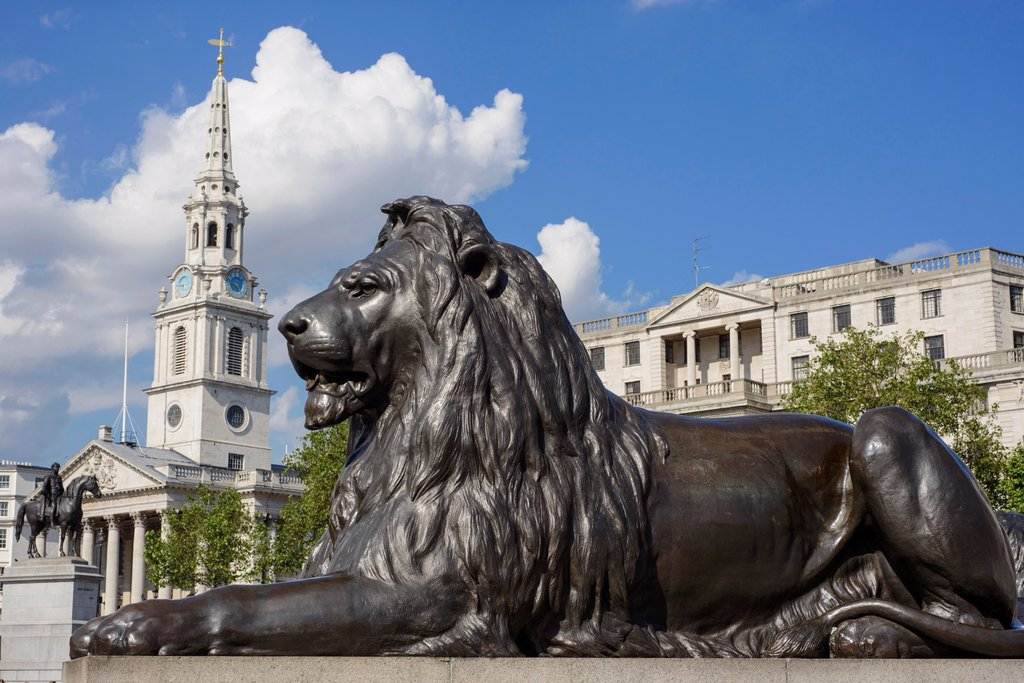 Stock Photo: 1566-1047238 Trafalgar Square lion with St Martin-in-the-Field church in the background, London, England