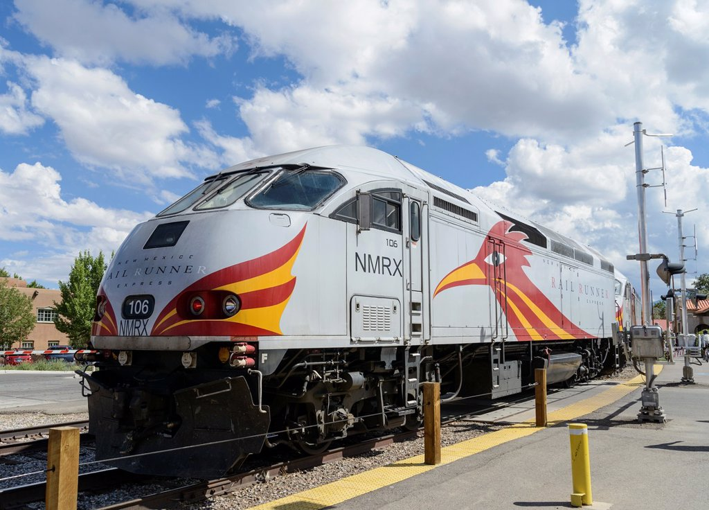 Stock Photo: 1566-1047239 New Mexico Railrunner locomotive at Santa Fe railroad station, New Mexico, USA
