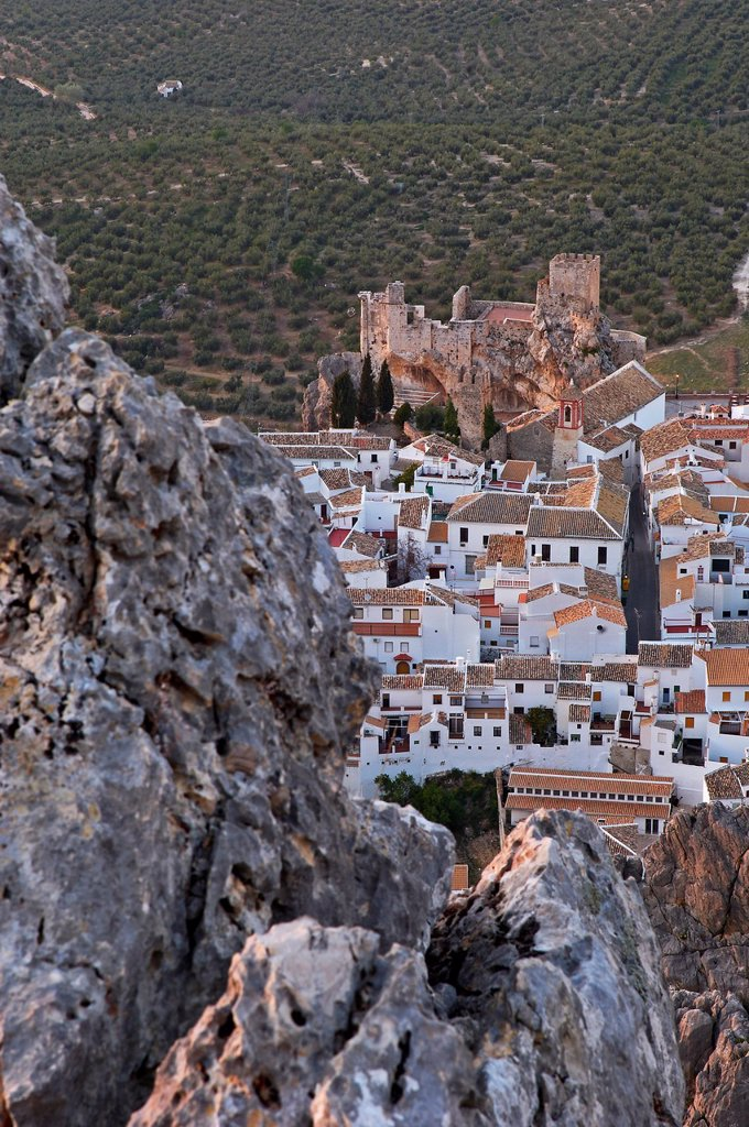 Castle, Zuheros, Sierra de la Subbetica, Cordoba, Andalusia, Spain : Stock Photo