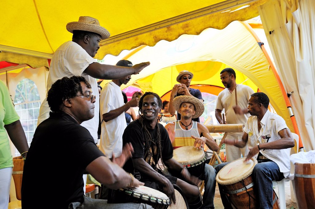 Stock Photo: 1566-1047520 drum band on the beach, Yoles Festival, Sainte-Anne Bay, Martinique, french island overseas region and department in the Lesser Antilles in the eastern Caribbean Sea, Atlantic Ocean
