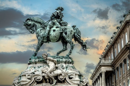 Stock Photo: 1566-1047618 Statue at Royal Palace of Prince Eugene of Savoy, by Jozsef Rona, unveiled 1900  Castle Hill, Unesco World Heritage Site, Buda, Budapest, Hungary
