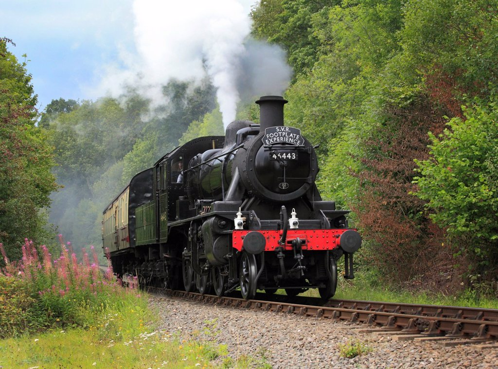 Stock Photo: 1566-1047707 ´The S V R  Footplate Experience´  Ivatt Class 2, 2-6-0, No 46443 steams through the Severn Valley At Trimpley, Worcestershire, England, Europe