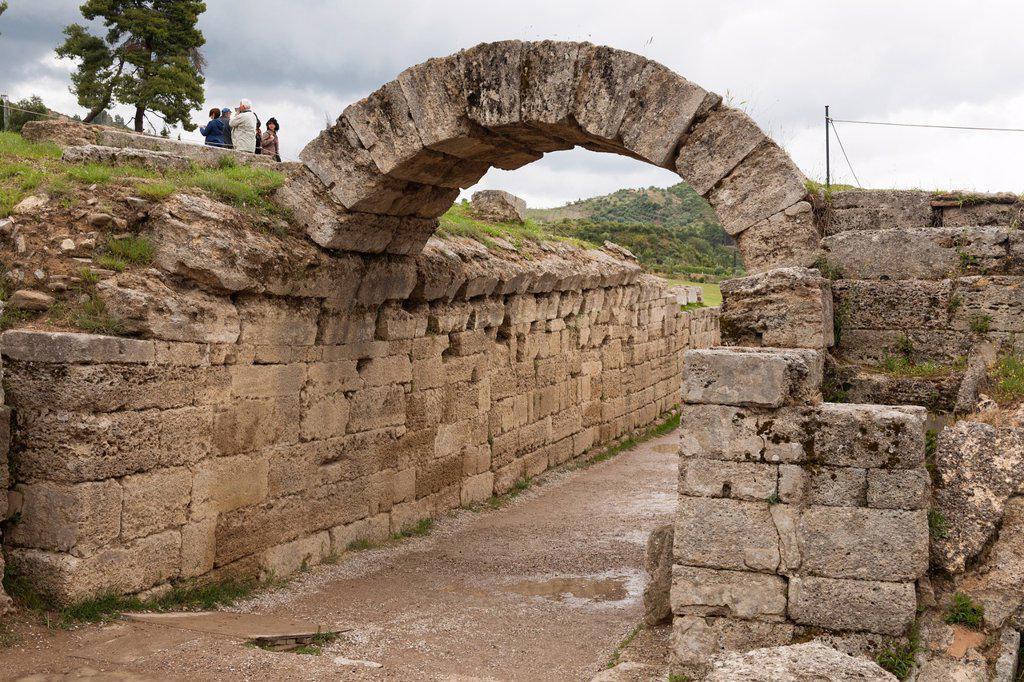 Entrance into the original Olympic Stadium, Olympia, Greece : Stock Photo