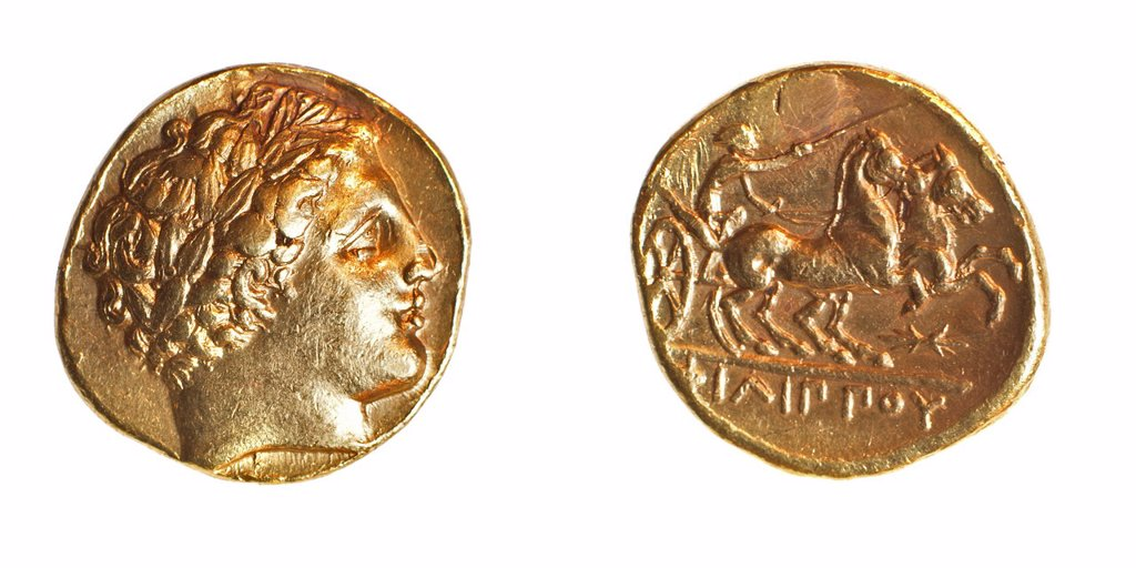 Stock Photo: 1566-1048298 Philip II 359-336 BCE Father of Alexander Gold stater 8 5 Grams Left Head of Philip Right Charioteer