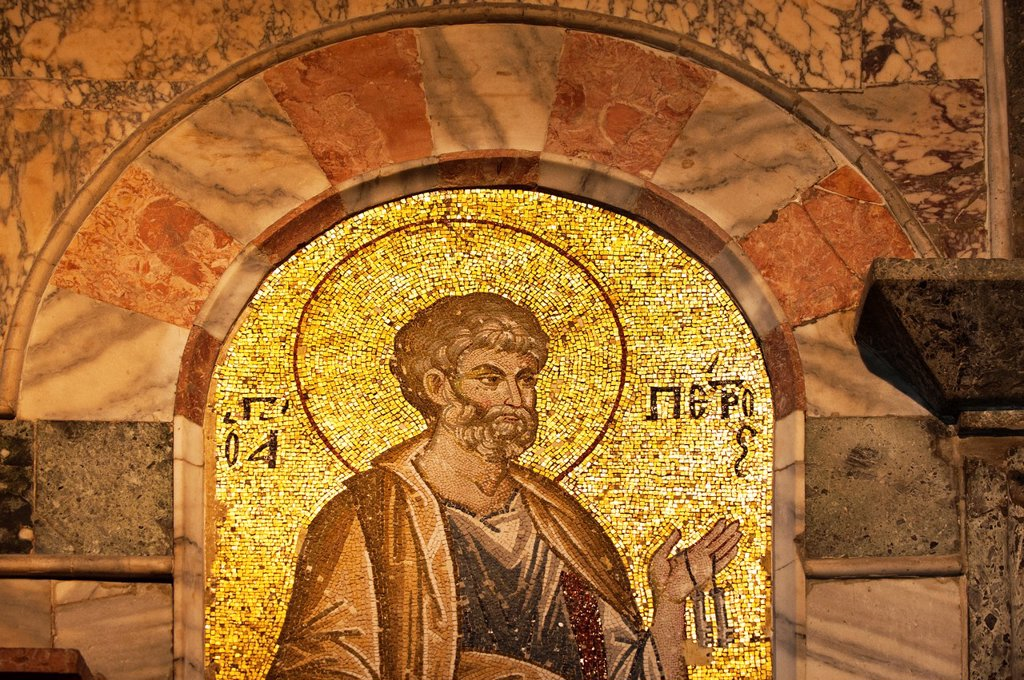 Saint Peter Mosaic, Esonarthex, Church of the Holy Saviour in Chora or Kariye Camii, Istanbul, Turkey : Stock Photo