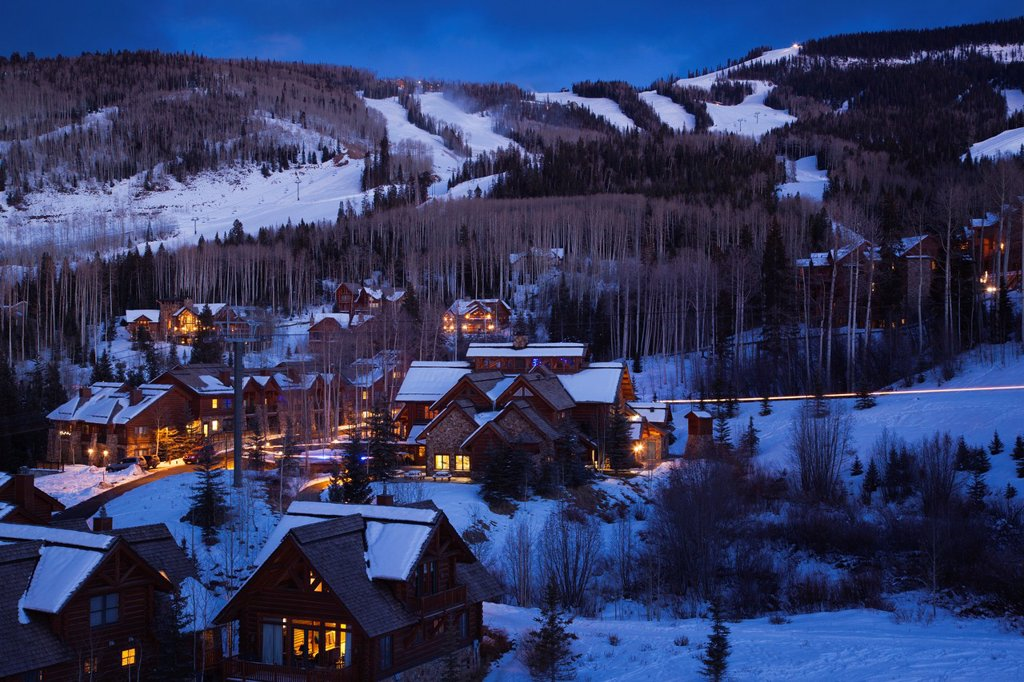 Stock Photo: 1566-1049015 USA, Colorado, Telluride, elevated view of Mountain Village Ski Area, dusk