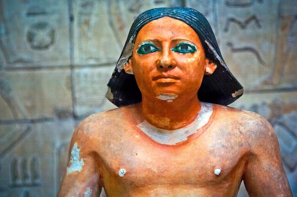 Stock Photo: 1566-1049161 seated scribe 5th Dynasty c2750 BC Cairo Museum, Egypt