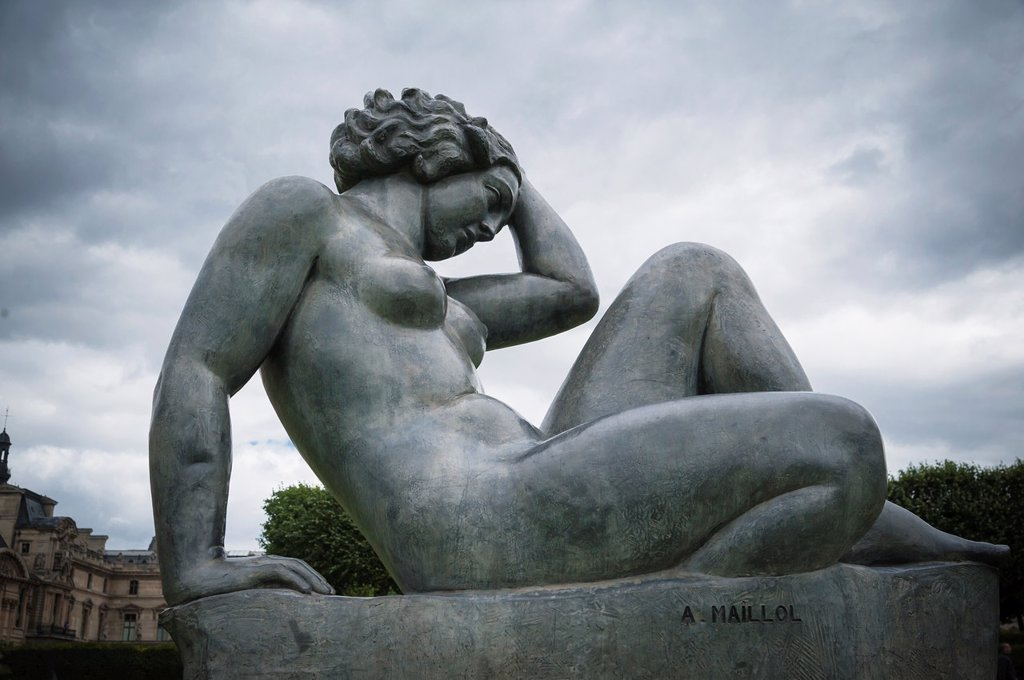 Stock Photo: 1566-1049324 Sculpture of a female nude by Aristide Maillol in the Tulieries, Paris, France
