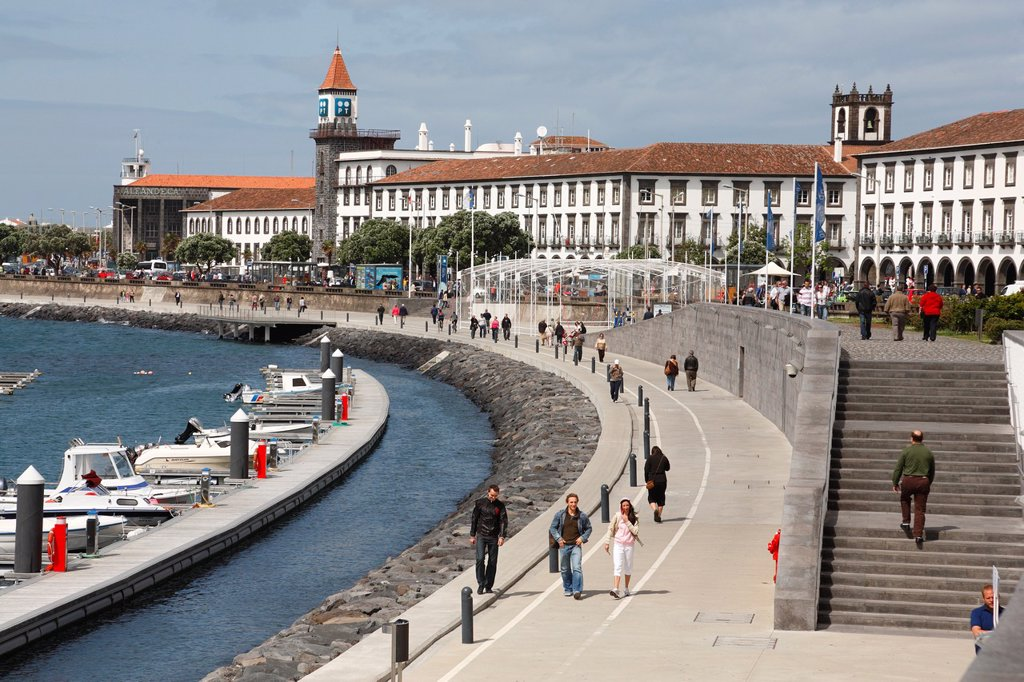 Ponta Delgada waterfront  Sao Miguel island, Azores, Portugal : Stock Photo