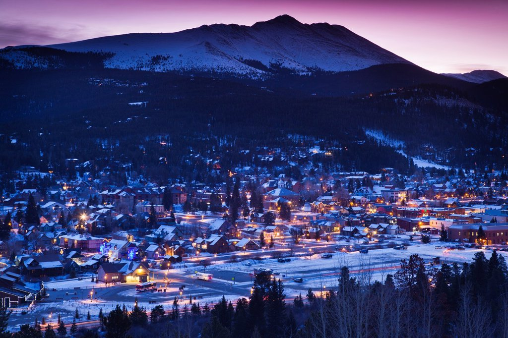 USA, Colorado, Breckenridge, elevated town view with Mount Baldy, dawn : Stock Photo