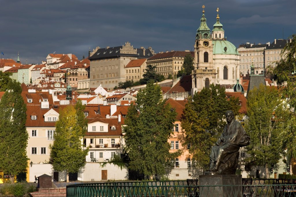 Stock Photo: 1566-1050585 STATUE BEDRICH SMETANA MUSEUM MALA STRANA PRAGUE CZECH REPUBLIC