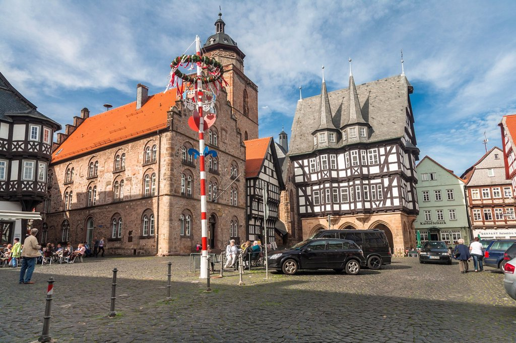 The picturesque market square with city hall in Alsfeld on the German Fairy Tale Route, Hesse, Germany, Europe : Stock Photo