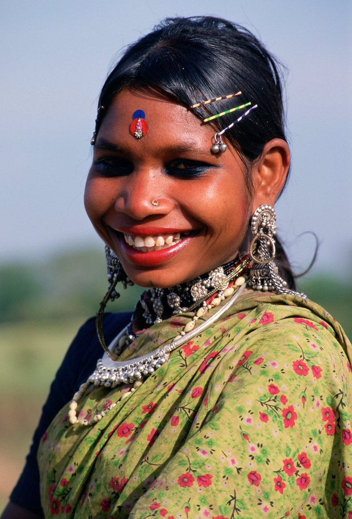 Stock Photo: 1566-1051275 Girl Smiling. She belongs to the Garasia tribe. Rajasthan, India.