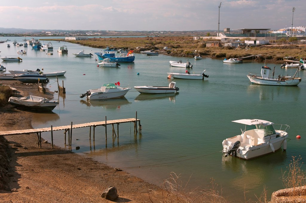 Canela neighborhood, Boats in the Estero de Plata, Ayamonte, Huelva-province, Spain : Stock Photo