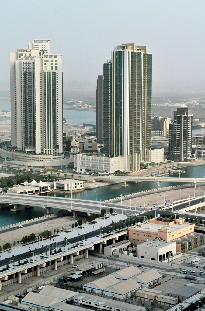 Stock Photo: 1566-1051871 Abu Dhabi, United Arab Emirates: view of the city, from Sowwah Island
